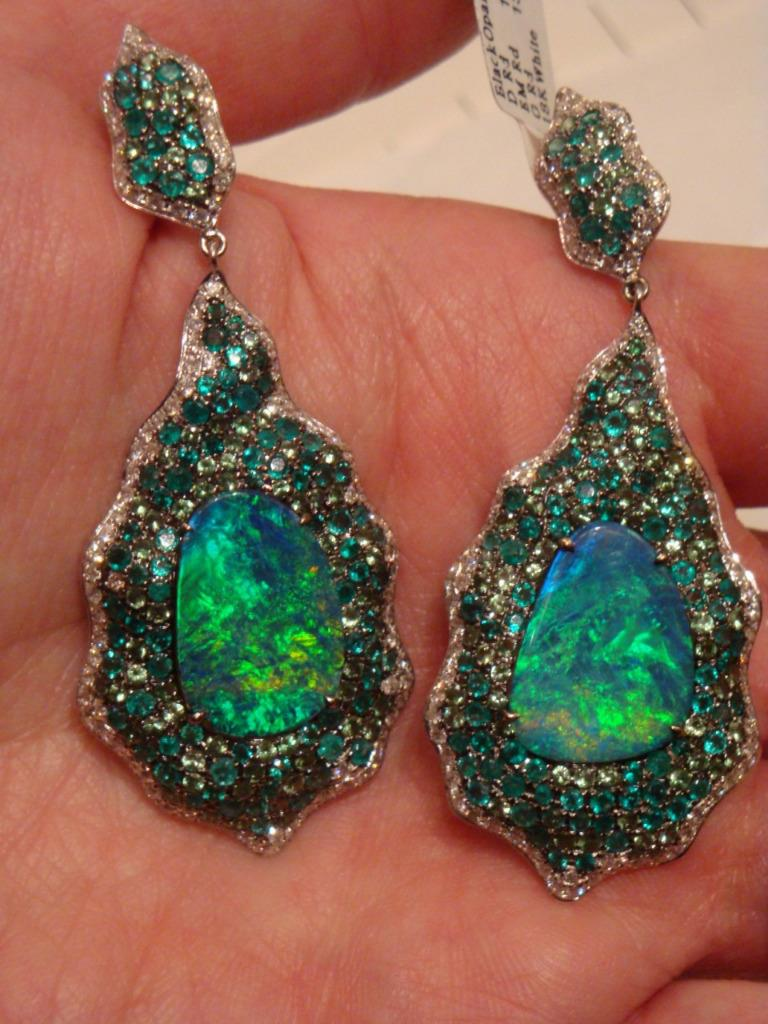 A Rare Important Estate Radiant Pair Of 18kt White Gold Winston Style  Glistening Black Australian Opal Emerald And Garnet Chandelier Diamond Drop  Earrings